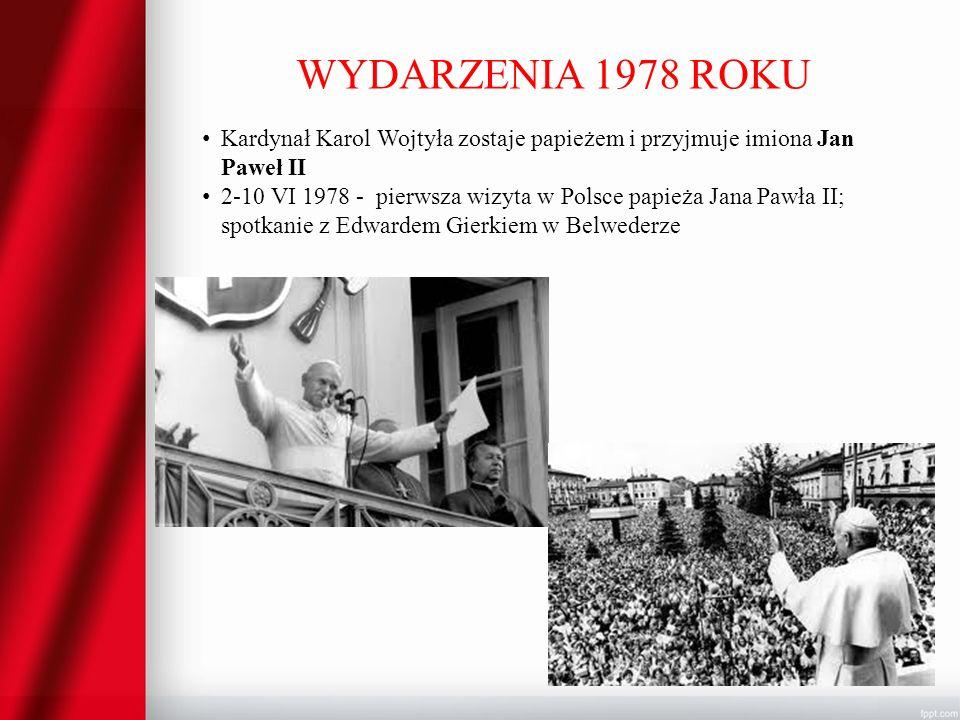 WYDARZENIA 1978 ROKU Kardynał Karol Wojtyła zostaje papieżem i przyjmuje imiona Jan Paweł II 2-10 VI 1978 - pierwsza wizyta w Polsce papieża Jana Pawł