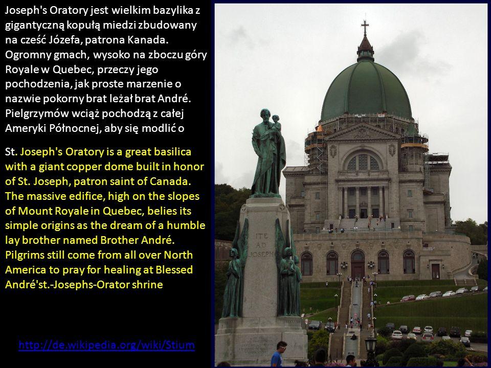 Joseph s Oratory jest wielkim bazylika z gigantyczną kopułą miedzi zbudowany na cześć Józefa, patrona Kanada.