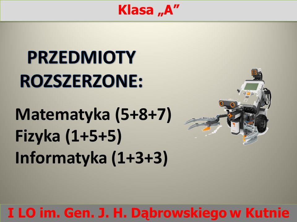 Matematyka (5+8+7) Fizyka (1+5+5) Informatyka (1+3+3) Klasa A I LO im. Gen. J. H. Dąbrowskiego w Kutnie