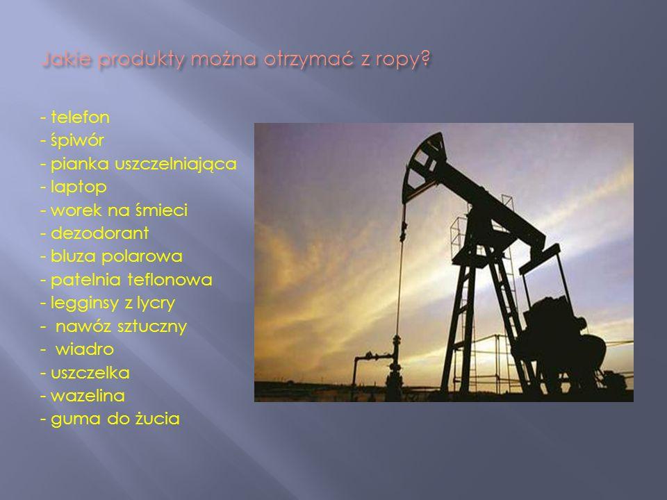 Jakie produkty można otrzymać z ropy? - telefon - śpiwór - pianka uszczelniająca - laptop - worek na śmieci - dezodorant - bluza polarowa - patelnia t
