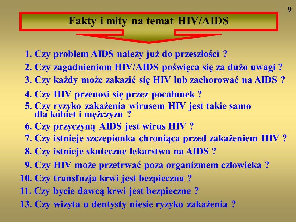 1. Czy problem AIDS należy już do przeszłości ? 2. Czy zagadnieniom HIV/AIDS poświęca się za dużo uwagi ? 3. Czy każdy może zakazić się HIV lub zachor