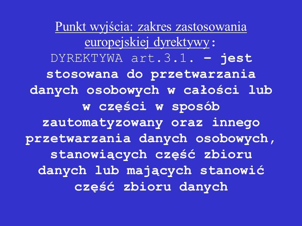 Punkt wyjścia: zakres zastosowania europejskiej dyrektywy : DYREKTYWA art.3.1. – jest stosowana do przetwarzania danych osobowych w całości lub w częś