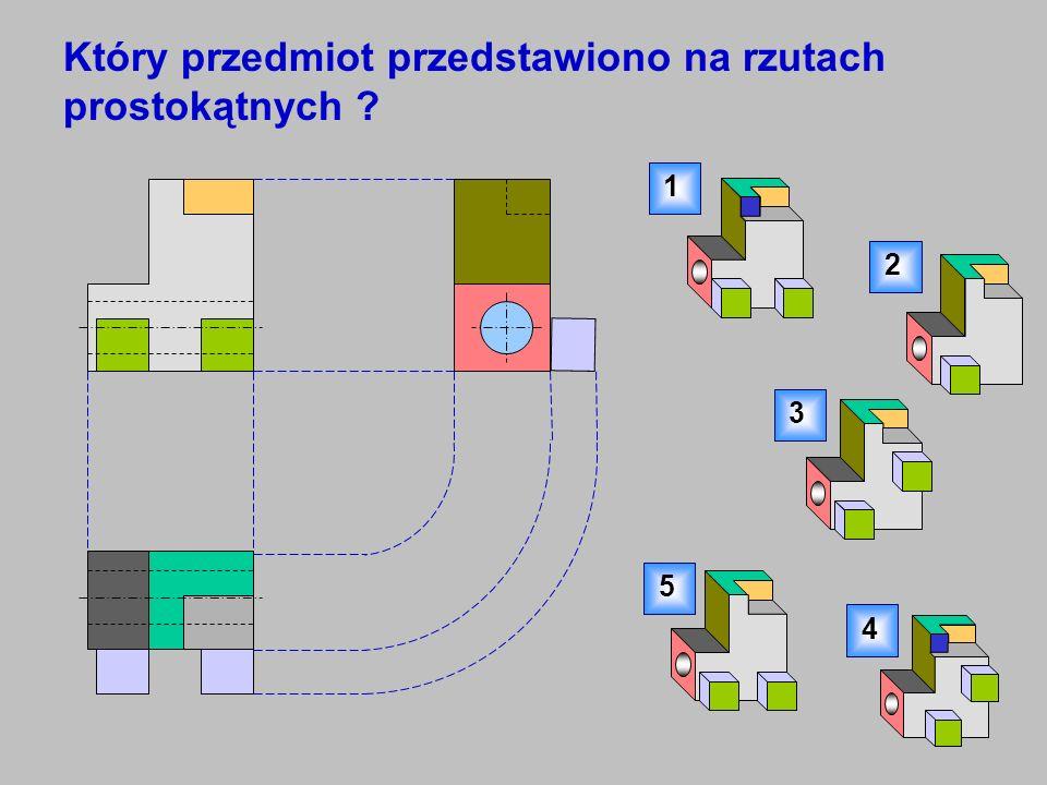 Który przedmiot przedstawiono na rzutach prostokątnych ? 1 2 3 4 5