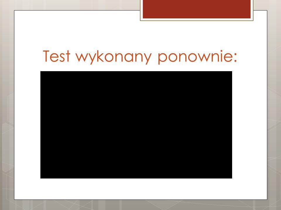 Test wykonany ponownie: