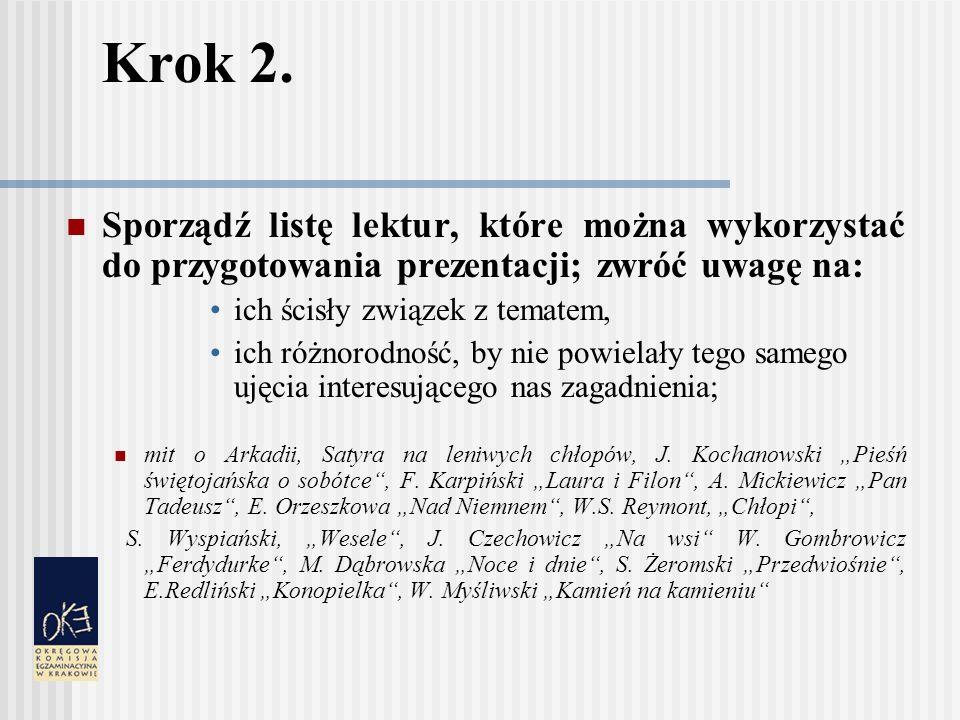 Krok 2. Sporządź listę lektur, które można wykorzystać do przygotowania prezentacji; zwróć uwagę na: ich ścisły związek z tematem, ich różnorodność, b