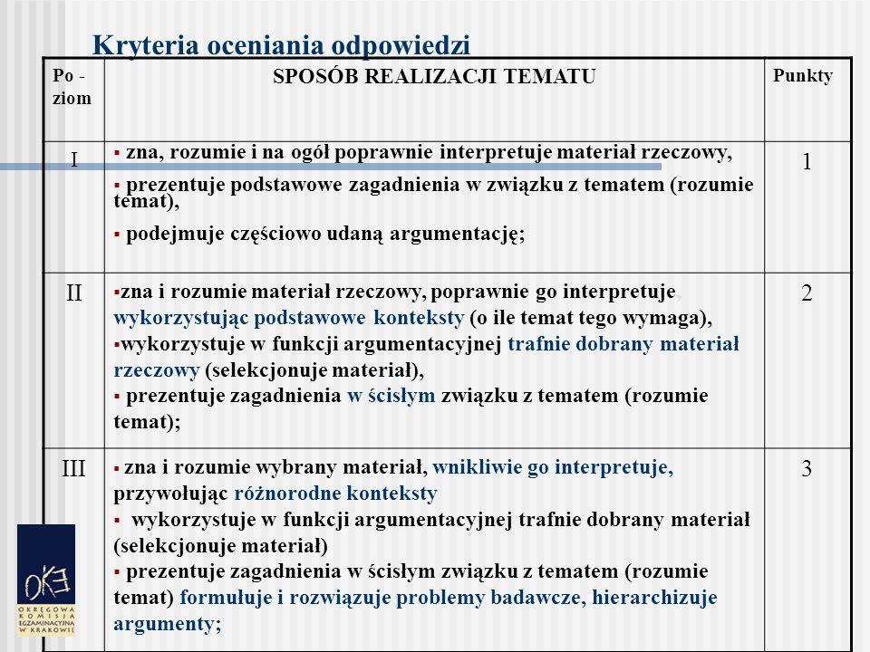 Kryteria oceniania odpowiedzi Po- ziom KOMPOZYCJA WYPOWIEDZIPunkty I buduje wypowiedź na ogół uporządkowaną i spójną (dopuszczalne zachwiania logicznego ciągu lub proporcji poszczególnych części wypowiedzi) 1 II buduje wypowiedź zorganizowaną, tzn.