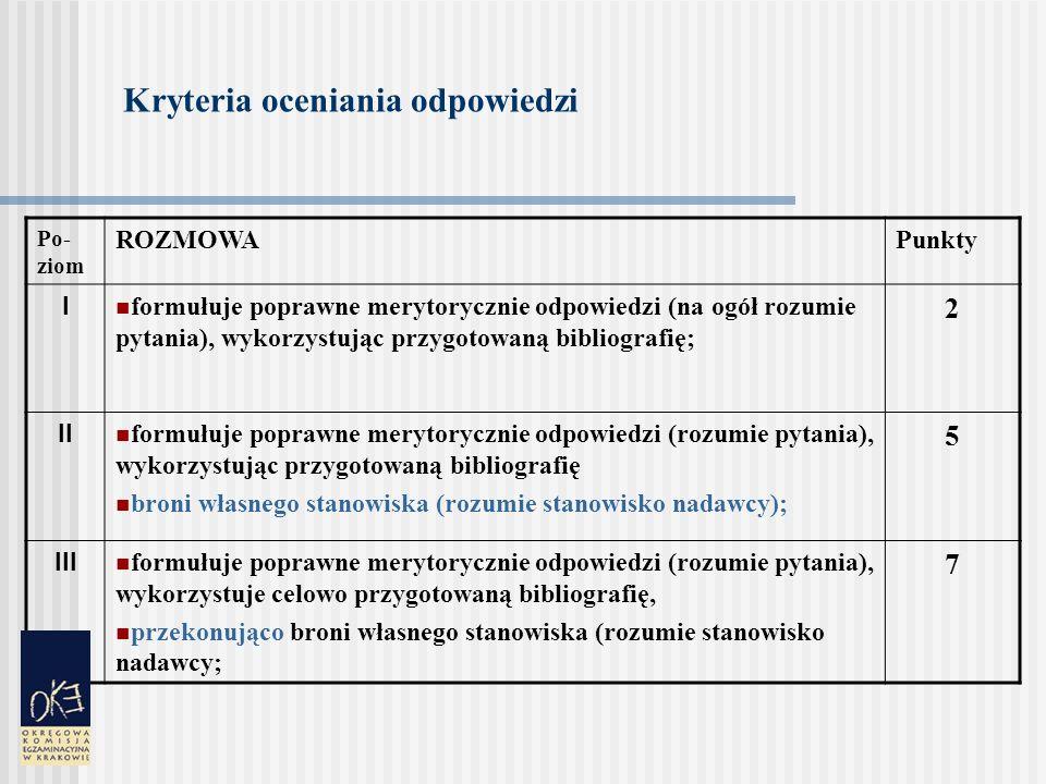 Kryteria oceniania odpowiedzi Poziom JĘZYK Punkty I przestrzega zasad poprawności właściwych dla języka mówionego w zakresie: ortofonii (wymowy), fleksji, leksyki, frazeologii, składni; dopuszczalne usterki językowe; posługuje się komunikatywnym stylem (dopuszczalna schematyczność), wystarczającym słownictwem; 2 II przestrzega zasad poprawności właściwych dla języka mówionego w zakresie: ortofonii (wymowy), fleksji, leksyki, frazeologii, składni, posługuje się stylem stosownym do sytuacji, posługuje się bogatym słownictwem i komunikatywnym stylem; 6 III przestrzega zasad poprawności właściwych dla języka mówionego w zakresie: ortofonii (wymowy), fleksji, leksyki, frazeologii, składni; posługuje się stylem stosownym do sytuacji, przestrzega zasad etykiety językowej; posługuje się bogatym słownictwem, komunikatywnym stylem, o wyraźnych cechach indywidualnych; 8