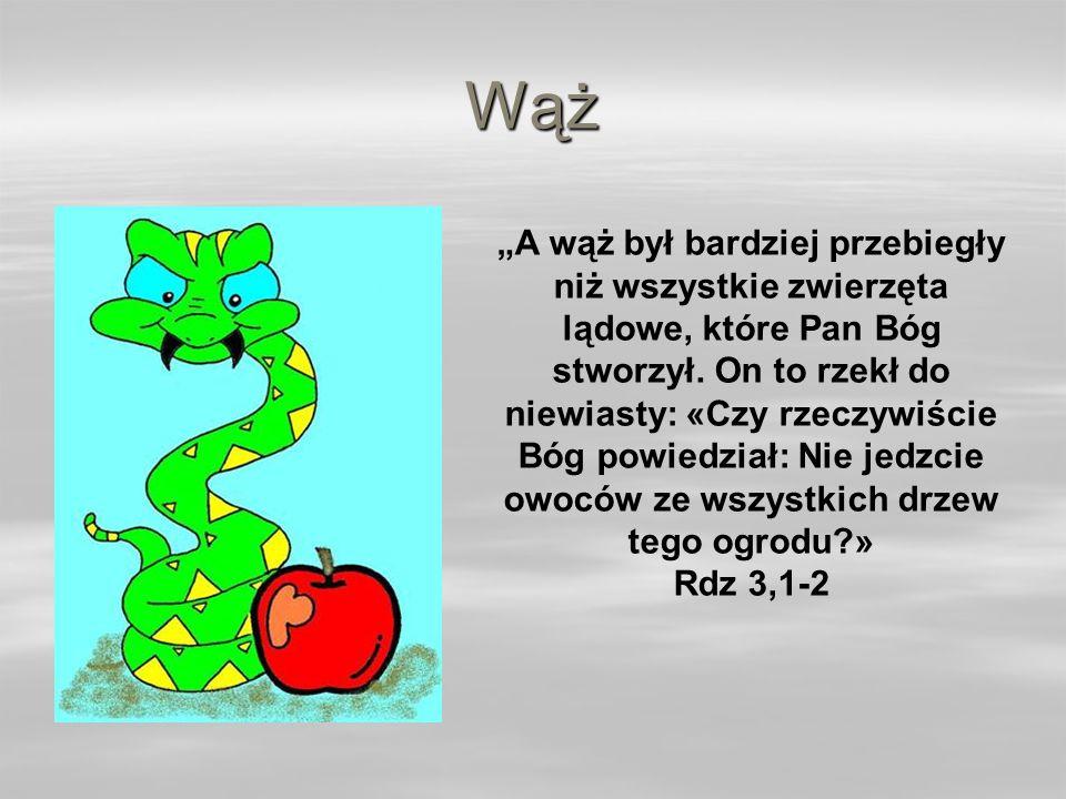 Wąż A wąż był bardziej przebiegły niż wszystkie zwierzęta lądowe, które Pan Bóg stworzył.