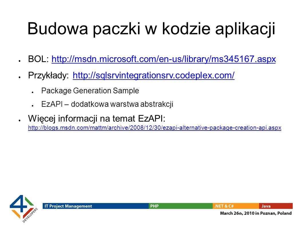 Budowa paczki w kodzie aplikacji BOL: http://msdn.microsoft.com/en-us/library/ms345167.aspxhttp://msdn.microsoft.com/en-us/library/ms345167.aspx Przyk