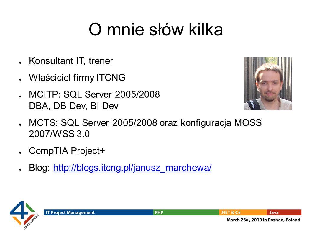 Budowa paczki w kodzie aplikacji BOL: http://msdn.microsoft.com/en-us/library/ms345167.aspxhttp://msdn.microsoft.com/en-us/library/ms345167.aspx Przykłady: http://sqlsrvintegrationsrv.codeplex.com/http://sqlsrvintegrationsrv.codeplex.com/ Package Generation Sample EzAPI – dodatkowa warstwa abstrakcji Więcej informacji na temat EzAPI: http://blogs.msdn.com/mattm/archive/2008/12/30/ezapi-alternative-package-creation-api.aspx http://blogs.msdn.com/mattm/archive/2008/12/30/ezapi-alternative-package-creation-api.aspx