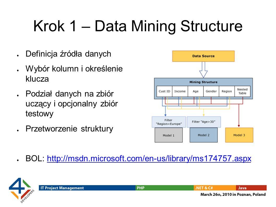 Krok 1 – Data Mining Structure Definicja źródła danych Wybór kolumn i określenie klucza Podział danych na zbiór uczący i opcjonalny zbiór testowy Przetworzenie struktury BOL: http://msdn.microsoft.com/en-us/library/ms174757.aspxhttp://msdn.microsoft.com/en-us/library/ms174757.aspx
