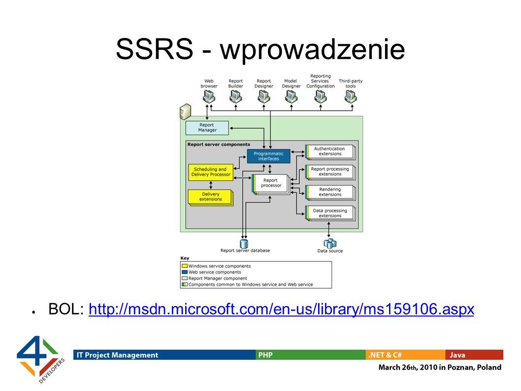 SSRS - wprowadzenie BOL: http://msdn.microsoft.com/en-us/library/ms159106.aspxhttp://msdn.microsoft.com/en-us/library/ms159106.aspx