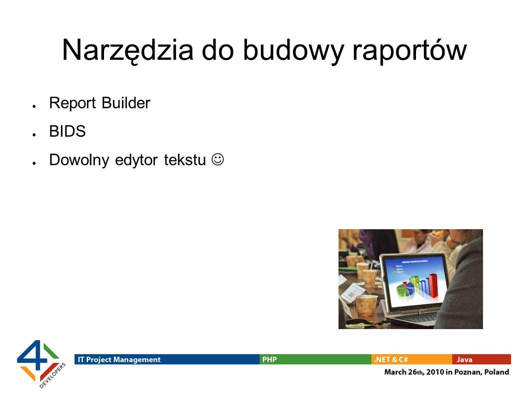 Narzędzia do budowy raportów Report Builder BIDS Dowolny edytor tekstu