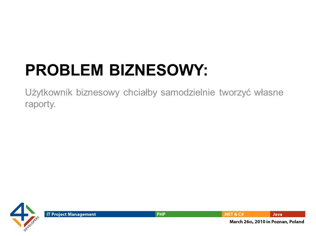 PROBLEM BIZNESOWY: Użytkownik biznesowy chciałby samodzielnie tworzyć własne raporty.
