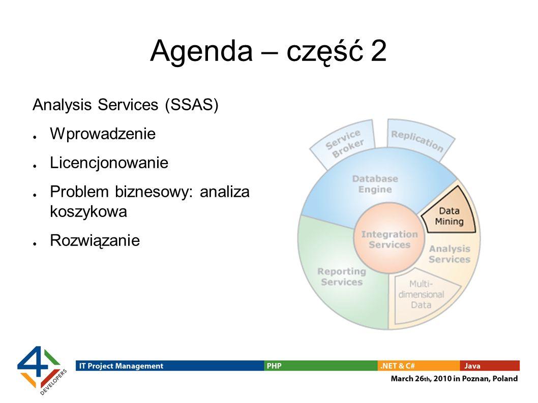 Agenda – część 3 Reporting Services (SSRS) Wprowadzenie Licencjonowanie Problem biznesowy: definiowanie raportów przez użytkownika biznesowego Rozwiązanie