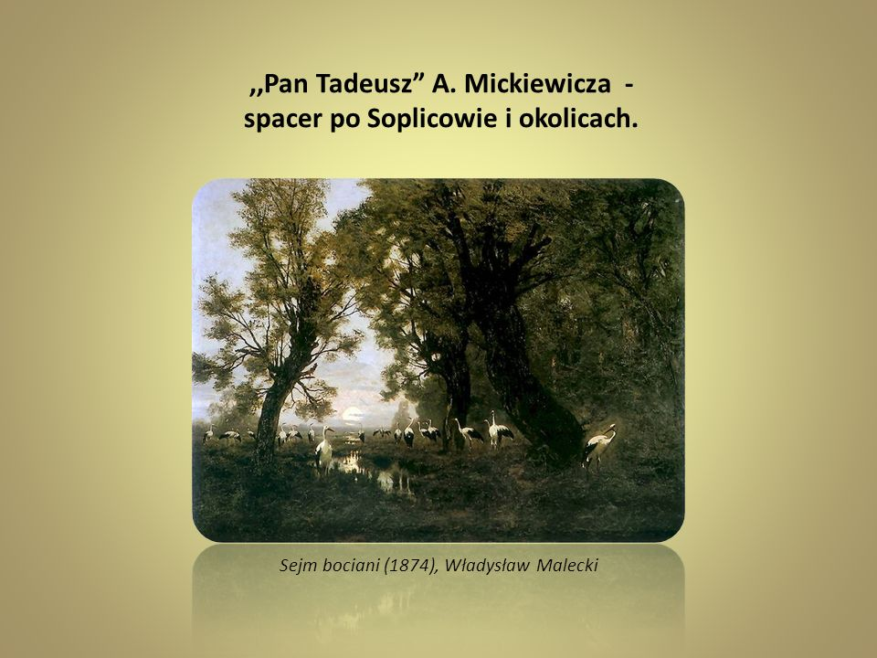 ,,Pan Tadeusz A. Mickiewicza - spacer po Soplicowie i okolicach. Sejm bociani (1874), Władysław Malecki