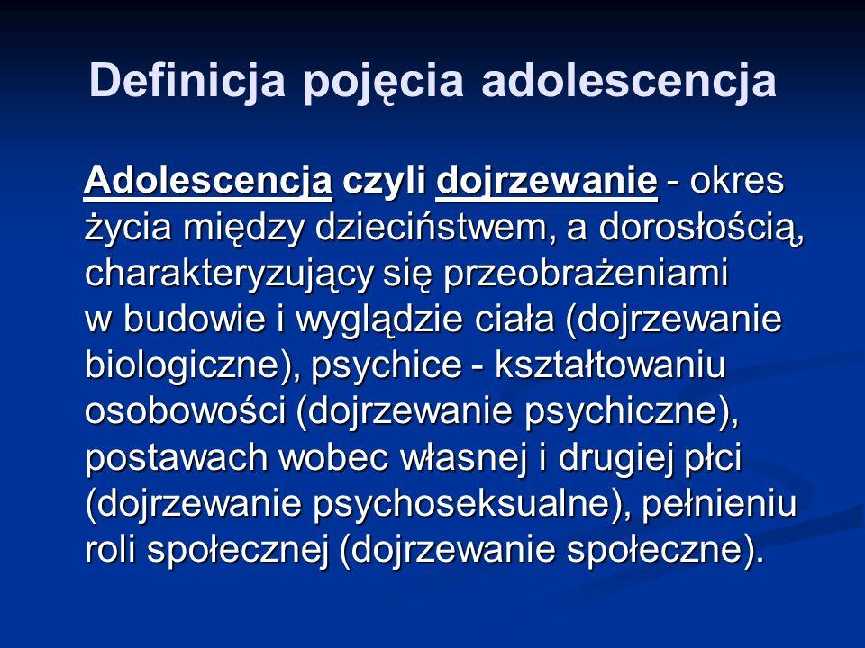 Definicja pojęcia adolescencja Adolescencja czyli dojrzewanie - okres życia między dzieciństwem, a dorosłością, charakteryzujący się przeobrażeniami w budowie i wyglądzie ciała (dojrzewanie biologiczne), psychice - kształtowaniu osobowości (dojrzewanie psychiczne), postawach wobec własnej i drugiej płci (dojrzewanie psychoseksualne), pełnieniu roli społecznej (dojrzewanie społeczne).