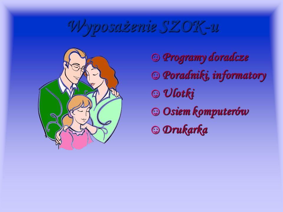 Wyposażenie SZOK-u Programy doradcze Poradniki, informatory Ulotki Osiem komputerów Drukarka