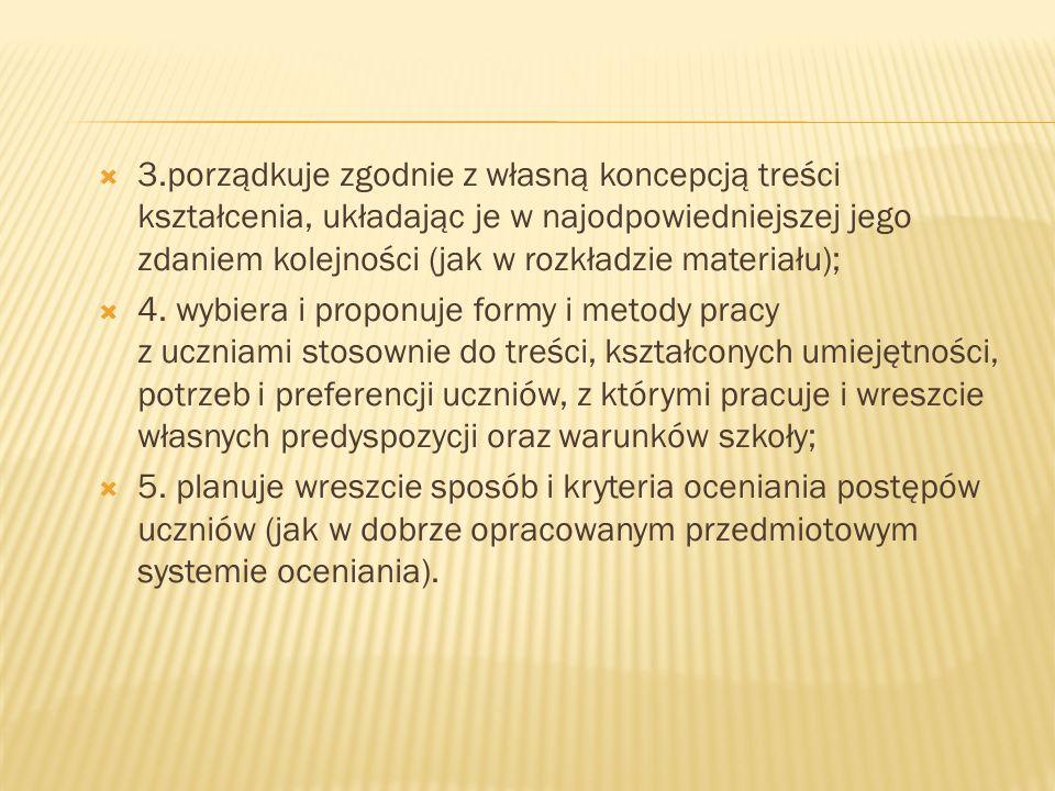 3.porządkuje zgodnie z własną koncepcją treści kształcenia, układając je w najodpowiedniejszej jego zdaniem kolejności (jak w rozkładzie materiału); 4