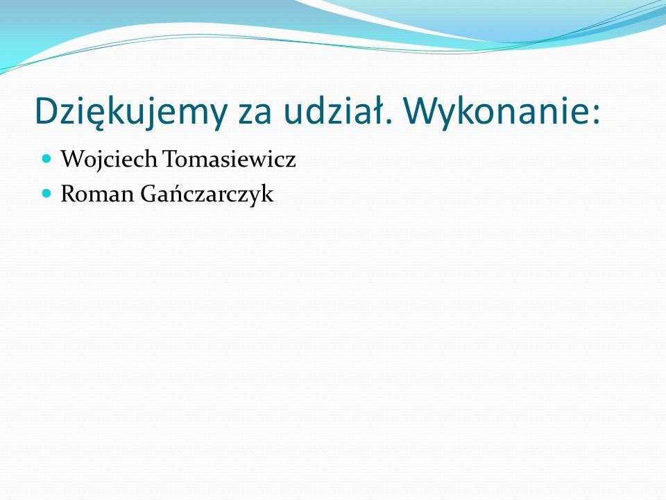 Dziękujemy za udział. Wykonanie: Wojciech Tomasiewicz Roman Gańczarczyk