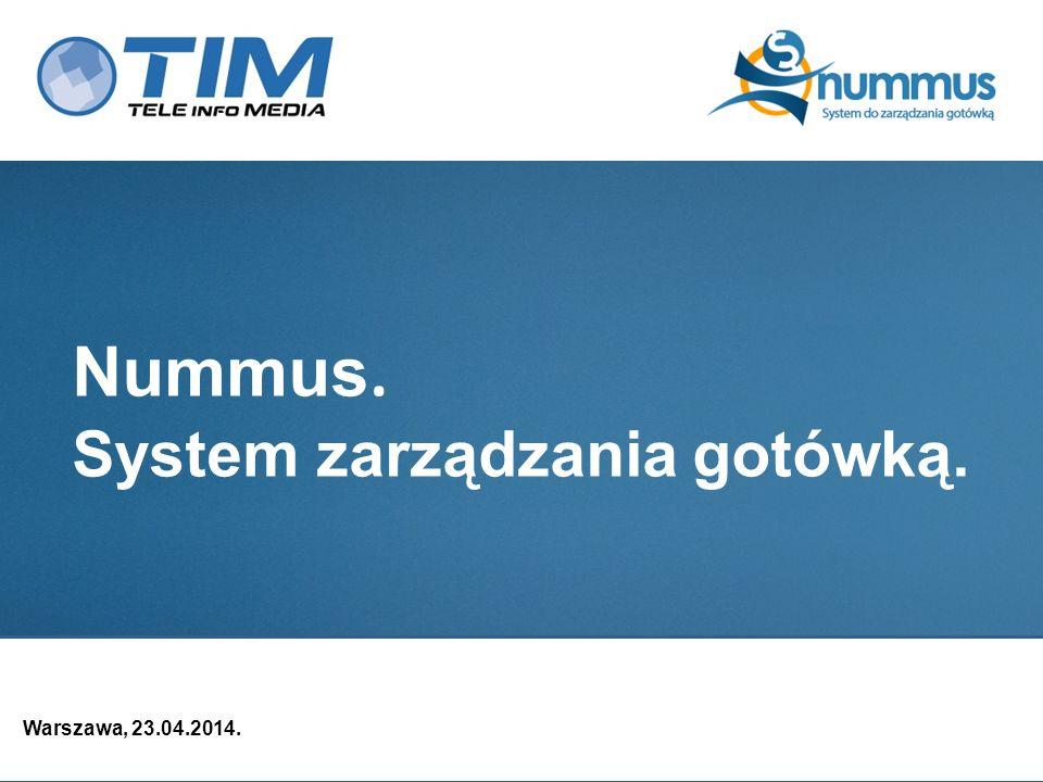 Nummus – moduły systemu Moduł zarządzania cash procesorami Cash procesorem może być Kasa Główna, która obsługuje zamówienia zasileń i odprowadzeń gotówki z podległych jednostek zarządzanie cash procesorami (możliwość definiowania dowolnej ilości) zarządzanie bramkami czasowymi (przyjmowanie zleceń, dla każdej waluty, możliwość ustawienia trybów realizacji zleceń: normalny, pilny, awaryjny z możliwością ustalania kwot prowizji) zarządzanie jednostkami podległymi cash procesorowi zarządzanie walutami obsługiwanymi przez cash procesor zarządzanie stanem gotówki w skarbcu zarządzanie stanem gotówki we wrzutni zarządzanie alertami skarbca, wrzutni zarządzanie bankomatami danego cash procesora zarządzanie konwojami obcymi danego cash procesora