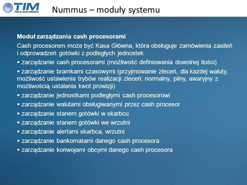 Nummus – moduły systemu Moduł zarządzania cash procesorami Cash procesorem może być Kasa Główna, która obsługuje zamówienia zasileń i odprowadzeń gotó