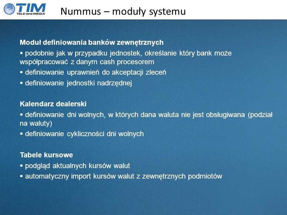 Nummus – moduły systemu Moduł definiowania banków zewnętrznych podobnie jak w przypadku jednostek, określanie który bank może współpracować z danym ca