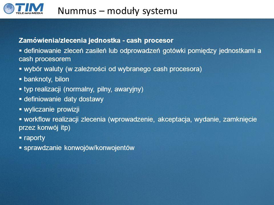 Nummus – moduły systemu Zamówienia/zlecenia jednostka - cash procesor definiowanie zleceń zasileń lub odprowadzeń gotówki pomiędzy jednostkami a cash