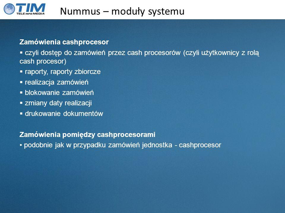 Nummus – moduły systemu Zamówienia cashprocesor czyli dostęp do zamówień przez cash procesorów (czyli użytkownicy z rolą cash procesor) raporty, rapor