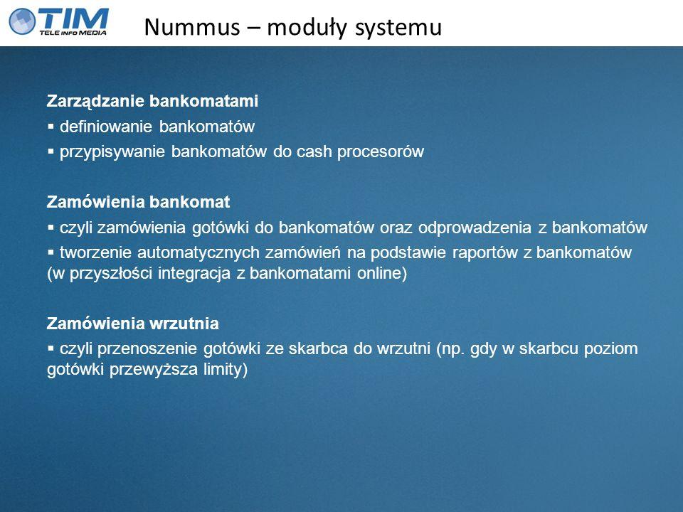Nummus – moduły systemu Zarządzanie bankomatami definiowanie bankomatów przypisywanie bankomatów do cash procesorów Zamówienia bankomat czyli zamówien