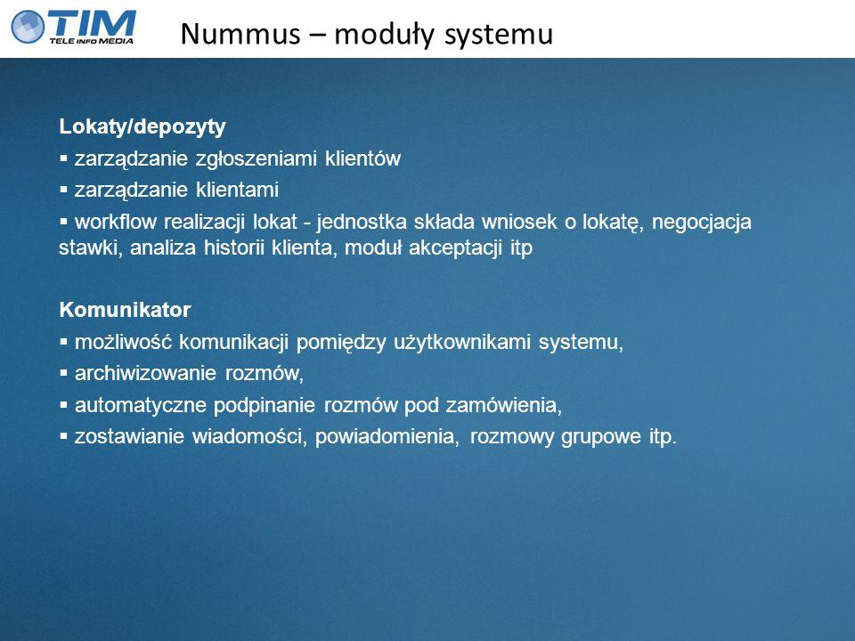 Nummus – moduły systemu Lokaty/depozyty zarządzanie zgłoszeniami klientów zarządzanie klientami workflow realizacji lokat - jednostka składa wniosek o
