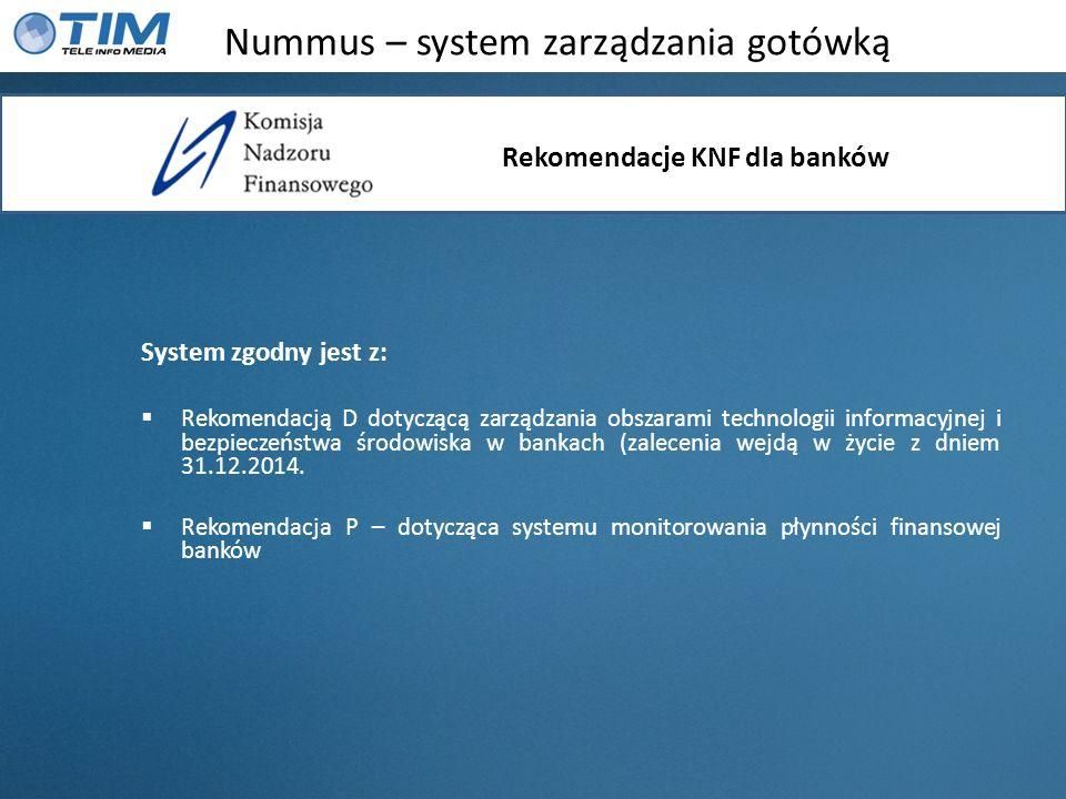 Nummus – system zarządzania gotówką System zgodny jest z: Rekomendacją D dotyczącą zarządzania obszarami technologii informacyjnej i bezpieczeństwa śr