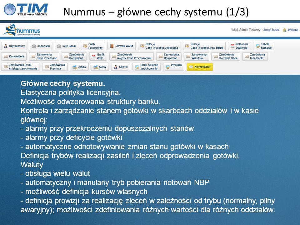Nummus – główne cechy systemu (2/3) Główne cechy systemu (c.d.) Definicja kalendarza dealerskiego – zarządzanie realizacją zleceń pobrania/odprowadzenia gotówki w kontekście świąt i uwarunkowań czasowych procesu.