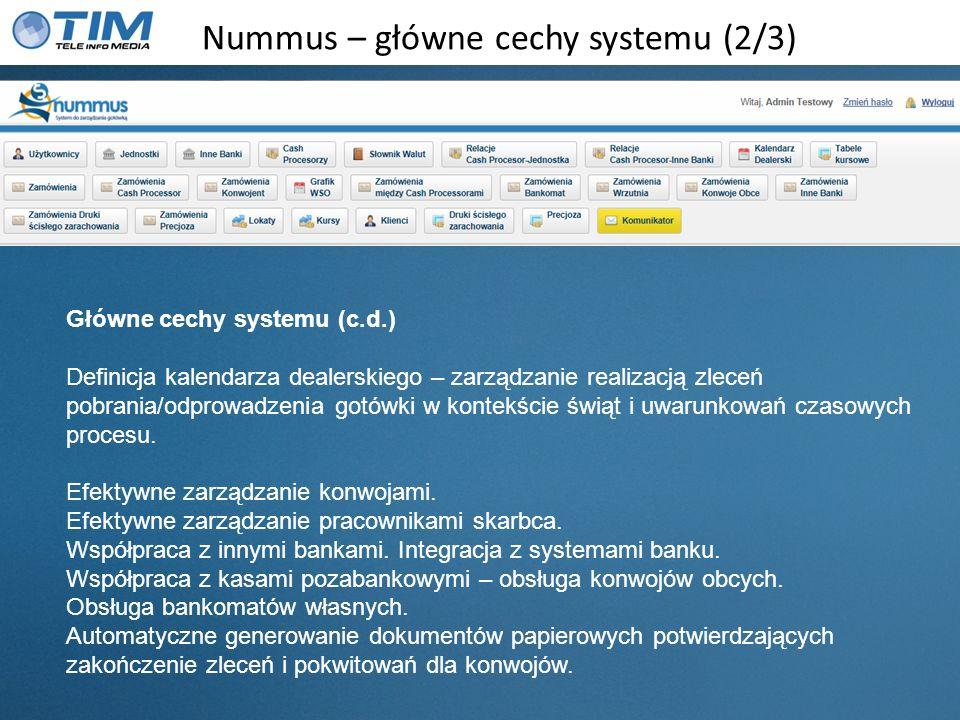 Nummus – główne cechy systemu (2/3) Główne cechy systemu (c.d.) Definicja kalendarza dealerskiego – zarządzanie realizacją zleceń pobrania/odprowadzen