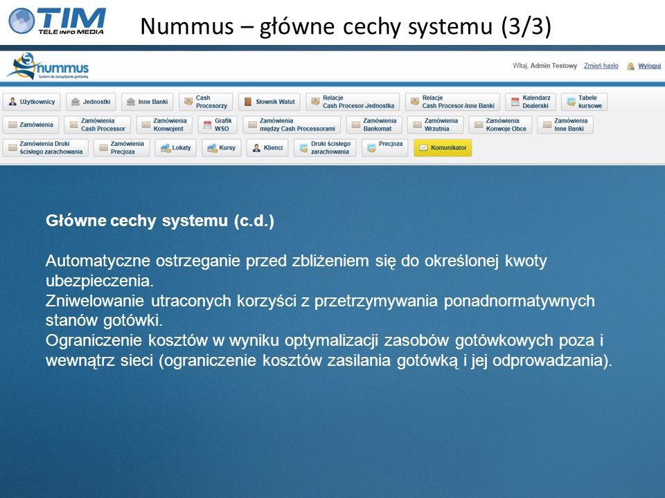 Nummus – moduły systemu Moduł zarządzania użytkownikami zarządzanie użytkownikami, generowanie haseł podział na role wygasanie hasła ograniczanie dostępu do poszczególnych modułów