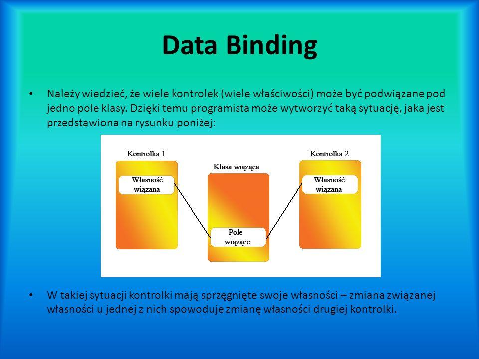 Data Binding Należy wiedzieć, że wiele kontrolek (wiele właściwości) może być podwiązane pod jedno pole klasy.