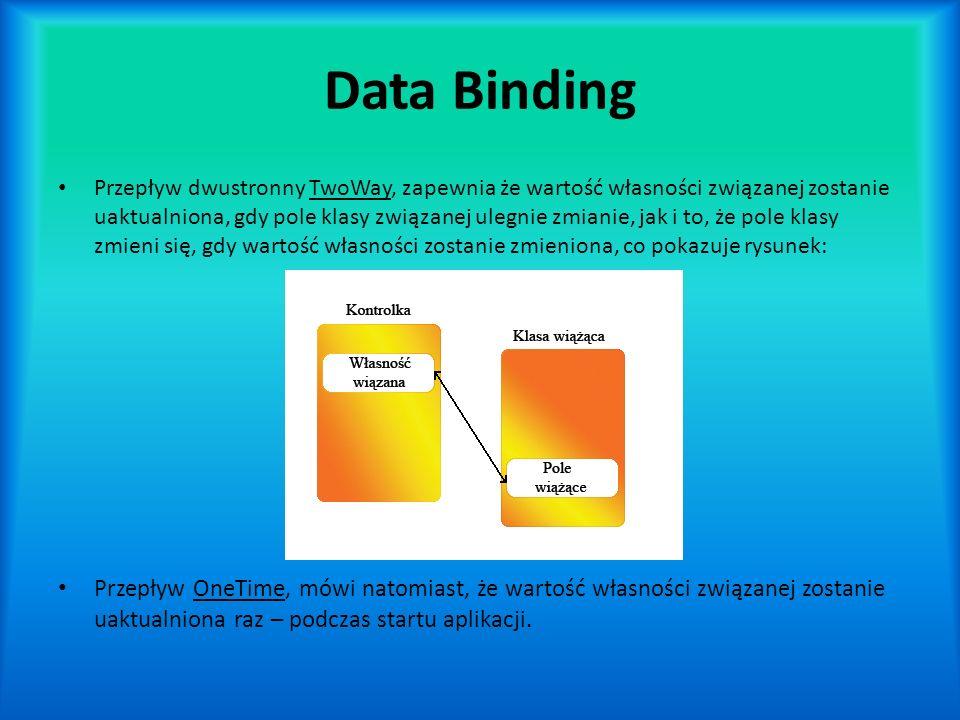 Data Binding Przepływ dwustronny TwoWay, zapewnia że wartość własności związanej zostanie uaktualniona, gdy pole klasy związanej ulegnie zmianie, jak i to, że pole klasy zmieni się, gdy wartość własności zostanie zmieniona, co pokazuje rysunek: Przepływ OneTime, mówi natomiast, że wartość własności związanej zostanie uaktualniona raz – podczas startu aplikacji.