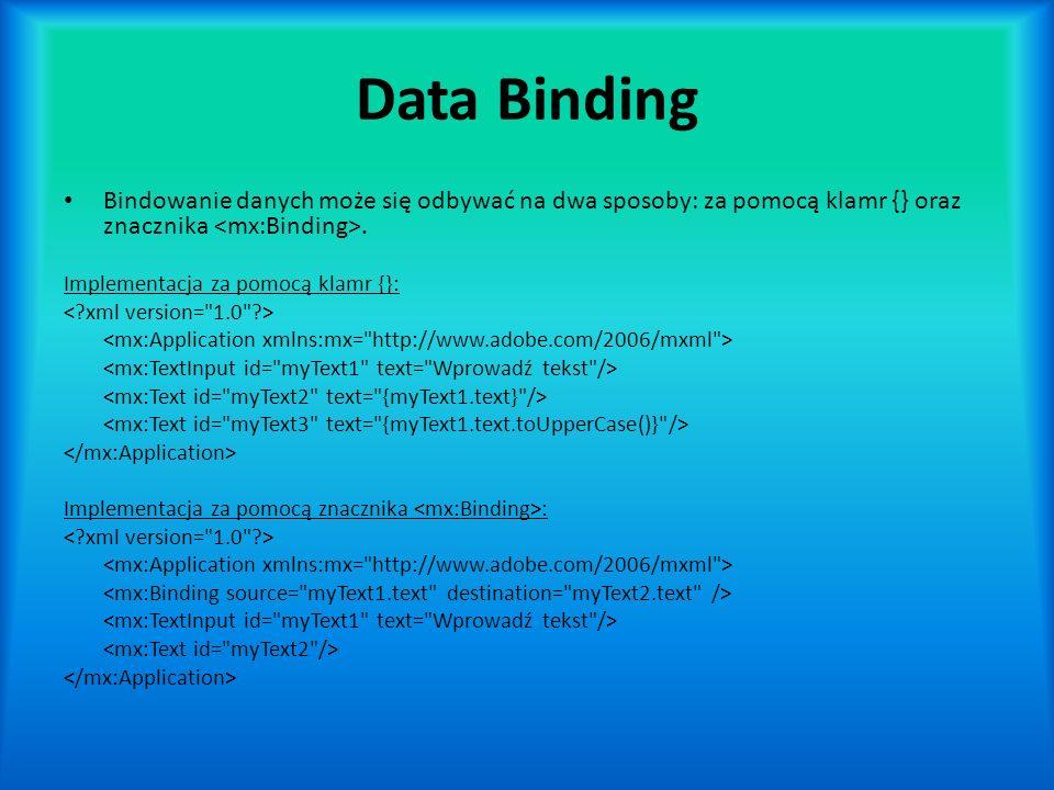 Data Binding Bindowanie danych może się odbywać na dwa sposoby: za pomocą klamr {} oraz znacznika.