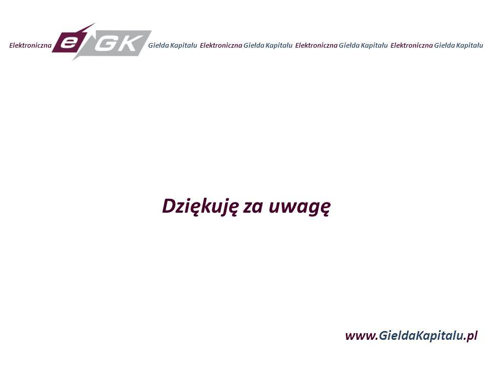 Elektroniczna Giełda Kapitału Elektroniczna Giełda Kapitału www.GieldaKapitalu.pl Dziękuję za uwagę