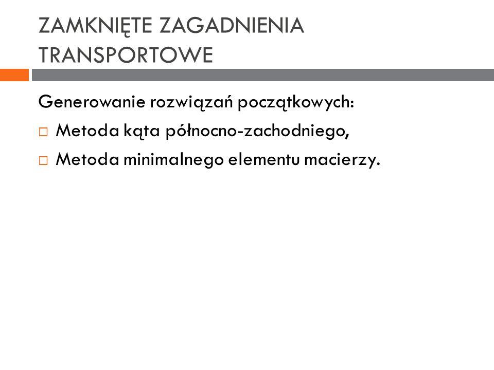 ZAMKNIĘTE ZAGADNIENIA TRANSPORTOWE Generowanie rozwiązań początkowych: Metoda kąta północno-zachodniego, Metoda minimalnego elementu macierzy.