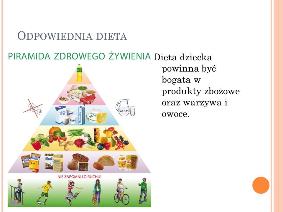 O DPOWIEDNIA DIETA Dieta dziecka powinna być bogata w produkty zbożowe oraz warzywa i owoce.