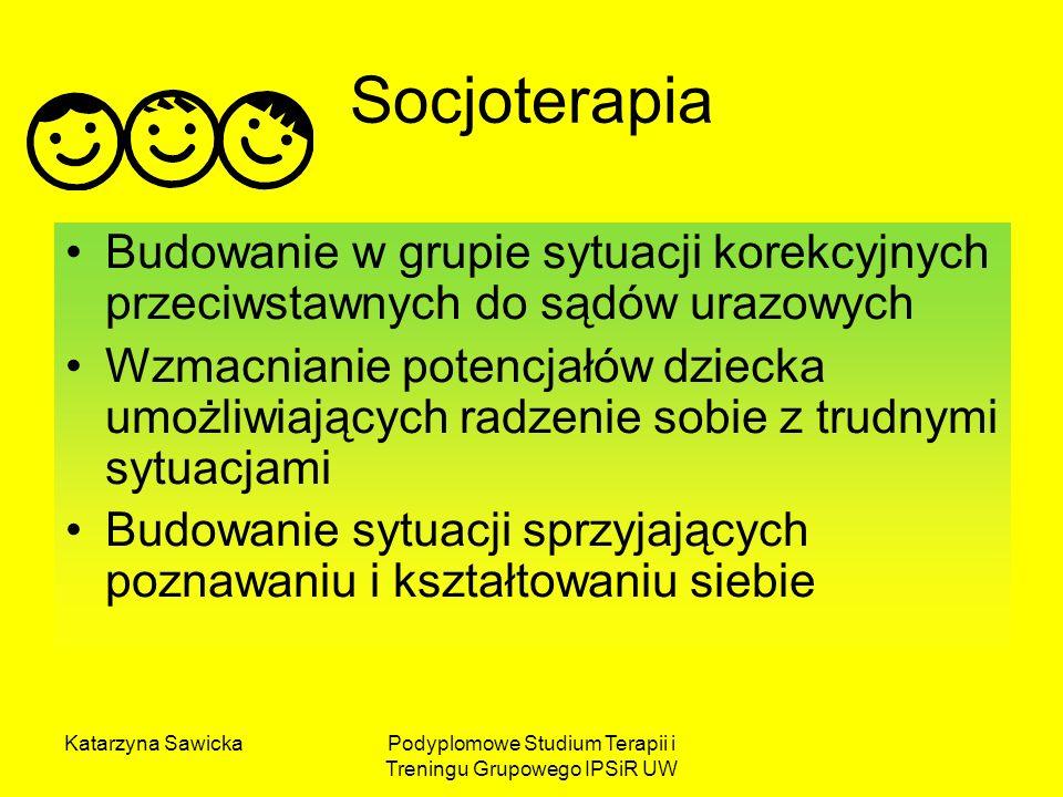 Katarzyna SawickaPodyplomowe Studium Terapii i Treningu Grupowego IPSiR UW Socjoterapia to: Ciąg zdarzeń interpersonalnych i intrapsychicznych sprzyjających zmianie korekcyjnej i rozwojowej