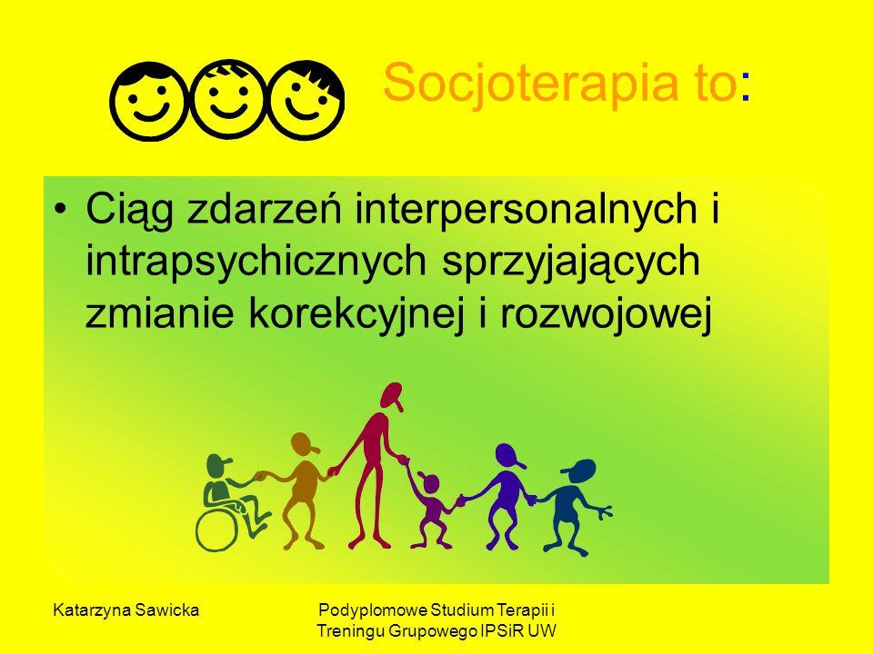 Katarzyna SawickaPodyplomowe Studium Terapii i Treningu Grupowego IPSiR UW Socjoterapia to: Ciąg zdarzeń interpersonalnych i intrapsychicznych sprzyja