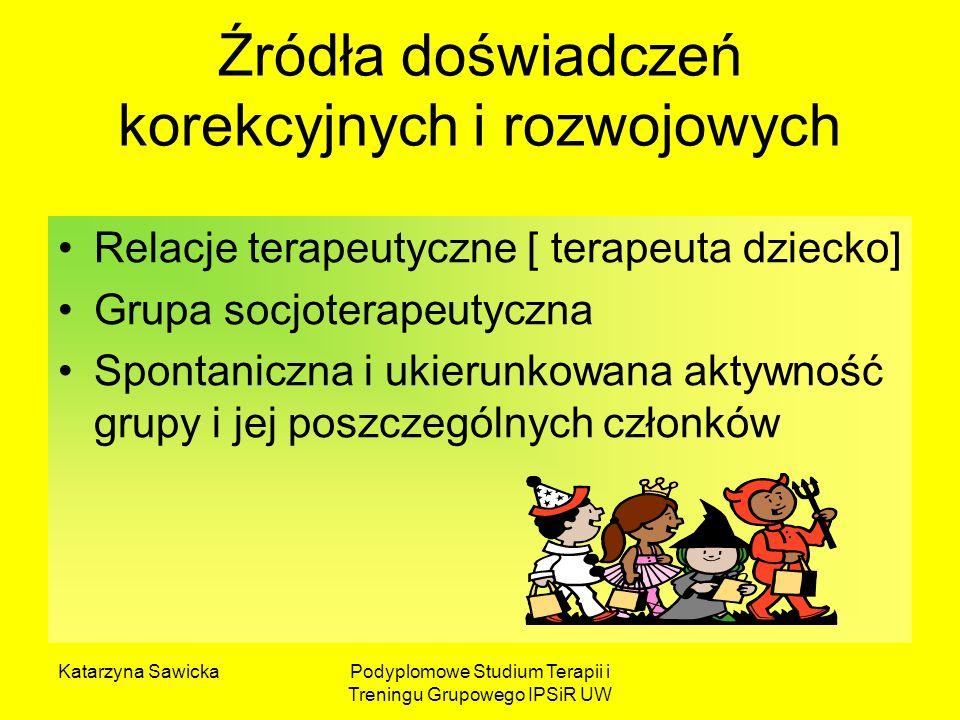Katarzyna SawickaPodyplomowe Studium Terapii i Treningu Grupowego IPSiR UW Źródła doświadczeń korekcyjnych i rozwojowych Relacje terapeutyczne [ terap