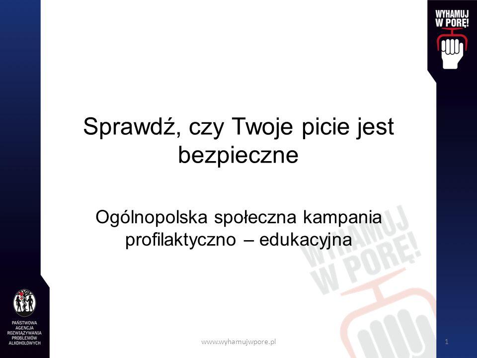 www.wyhamujwpore.pl22 Stężenie alkoholu we krwi Do maksymalnego stężenia alkoholu we krwi dochodzi po upływie około 1,0-1,5 godziny od chwili jego spożycia.