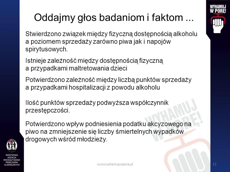 www.wyhamujwpore.pl13 Oddajmy głos badaniom i faktom...