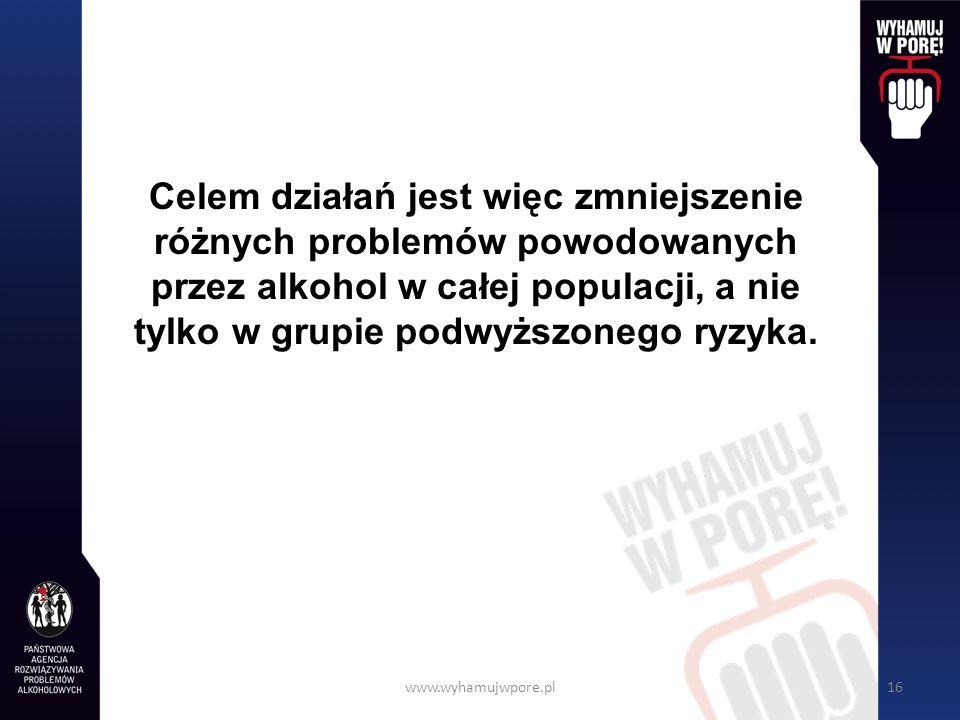 www.wyhamujwpore.pl16 Celem działań jest więc zmniejszenie różnych problemów powodowanych przez alkohol w całej populacji, a nie tylko w grupie podwyższonego ryzyka.