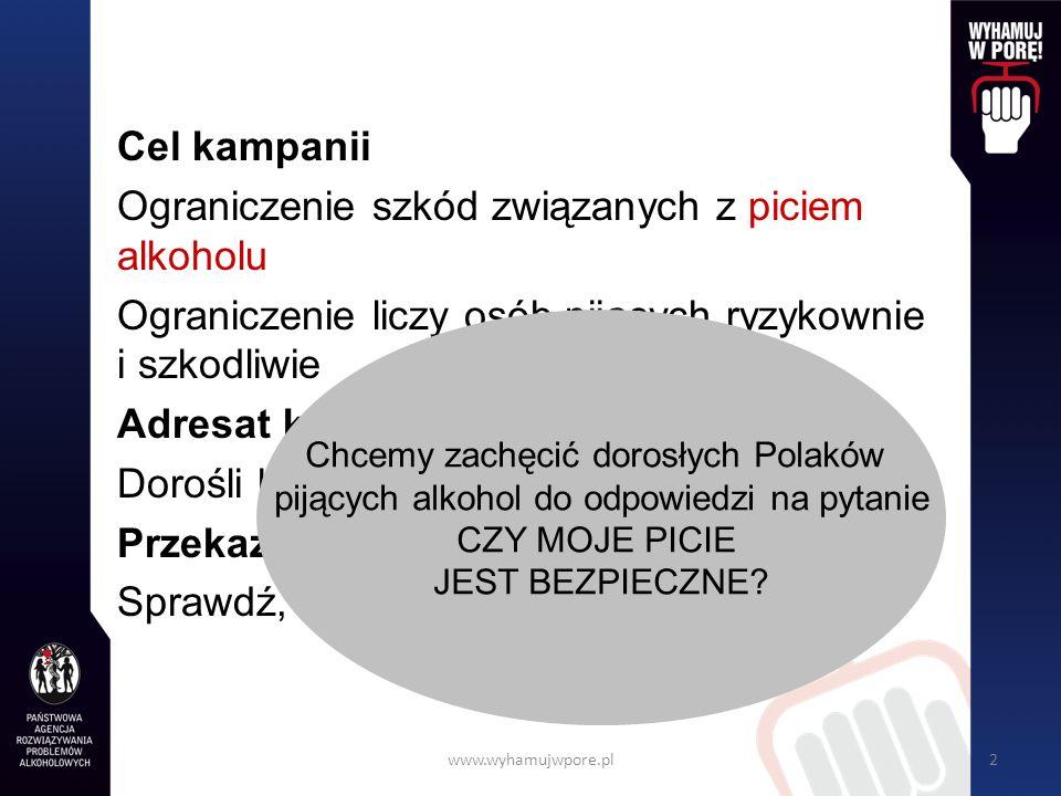 www.wyhamujwpore.pl2 Cel kampanii Ograniczenie szkód związanych z piciem alkoholu Ograniczenie liczy osób pijących ryzykownie i szkodliwie Adresat kampanii Dorośli konsumenci napojów alkoholowych Przekaz Sprawdź, czy Twoje picie jest bezpieczne Chcemy zachęcić dorosłych Polaków pijących alkohol do odpowiedzi na pytanie CZY MOJE PICIE JEST BEZPIECZNE?