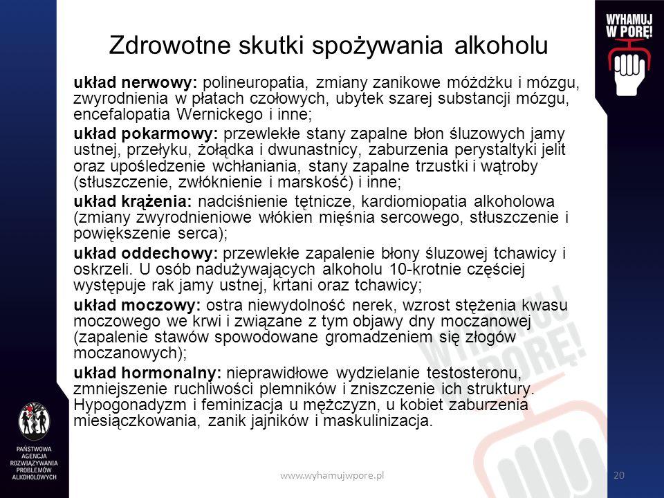 www.wyhamujwpore.pl20 Zdrowotne skutki spożywania alkoholu układ nerwowy: polineuropatia, zmiany zanikowe móżdżku i mózgu, zwyrodnienia w płatach czołowych, ubytek szarej substancji mózgu, encefalopatia Wernickego i inne; układ pokarmowy: przewlekłe stany zapalne błon śluzowych jamy ustnej, przełyku, żołądka i dwunastnicy, zaburzenia perystaltyki jelit oraz upośledzenie wchłaniania, stany zapalne trzustki i wątroby (stłuszczenie, zwłóknienie i marskość) i inne; układ krążenia: nadciśnienie tętnicze, kardiomiopatia alkoholowa (zmiany zwyrodnieniowe włókien mięśnia sercowego, stłuszczenie i powiększenie serca); układ oddechowy: przewlekłe zapalenie błony śluzowej tchawicy i oskrzeli.
