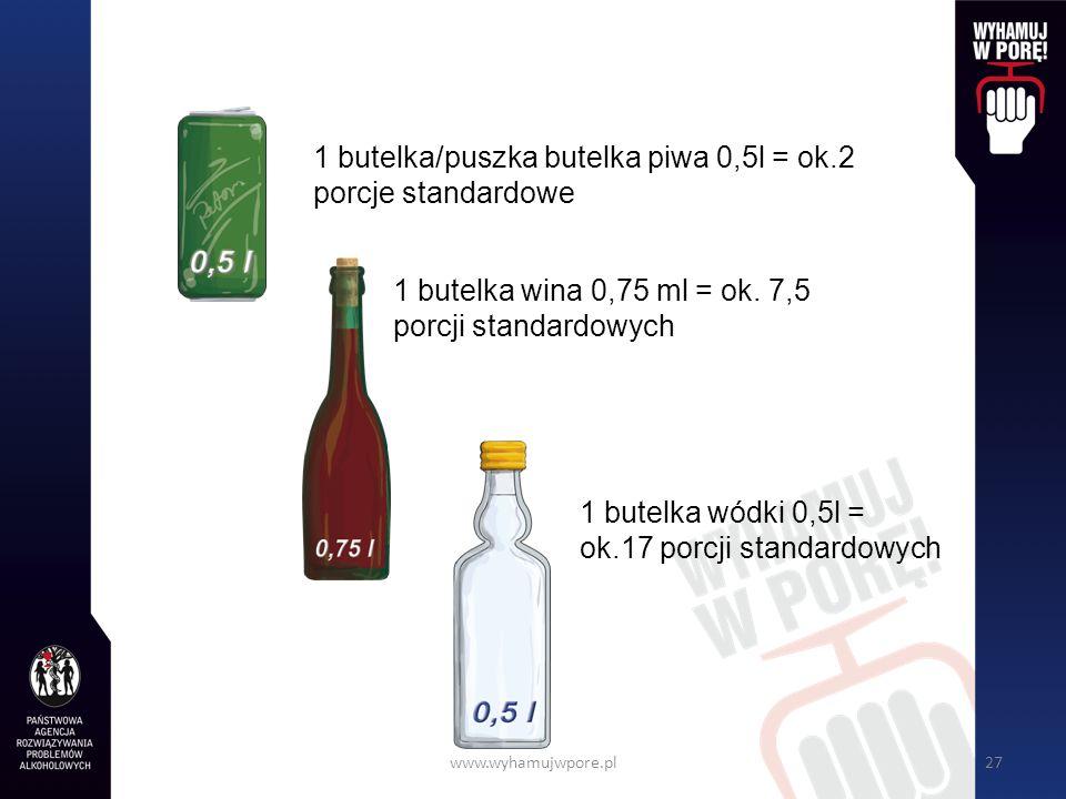 www.wyhamujwpore.pl27 1 butelka wódki 0,5l = ok.17 porcji standardowych 1 butelka/puszka butelka piwa 0,5l = ok.2 porcje standardowe 1 butelka wina 0,75 ml = ok.